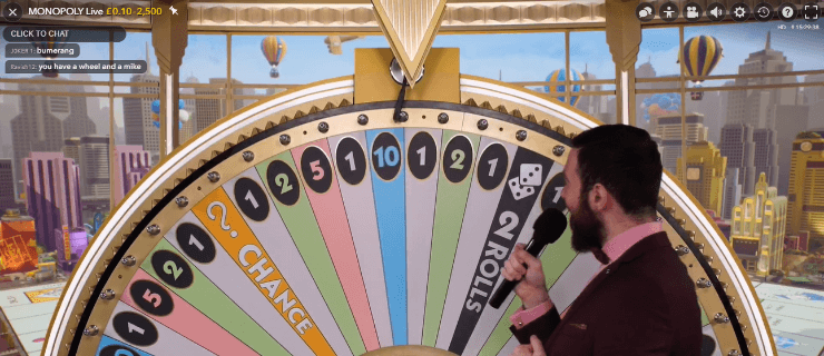 Monopoly Live wheel spin